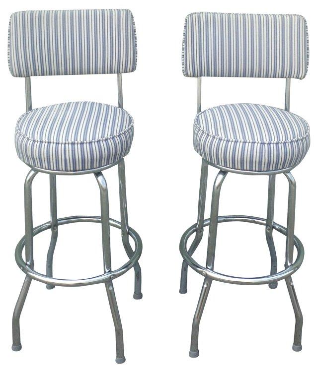 Chrome Barstools w/ Ticking Seats, Pair