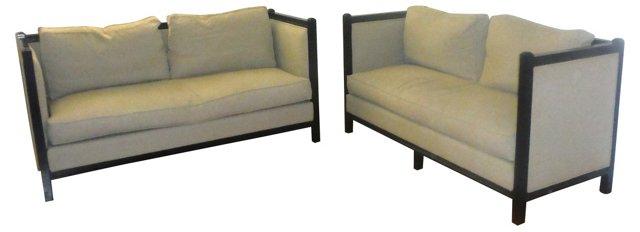 Linen-Upholstered  Sofas, Pair