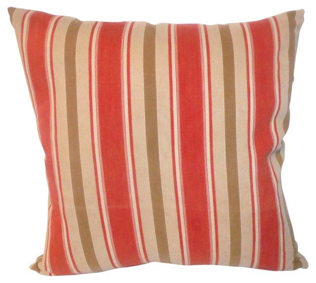 Pillow w/ 19th-C. Red & Tan Ticking