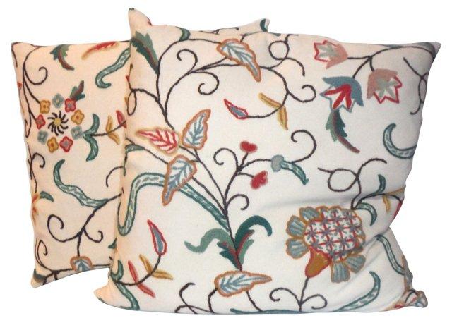 Linen Crewelwork  Pillows, Pair