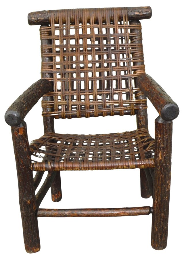 Old Hickory Armchair w/ Rattan Seat