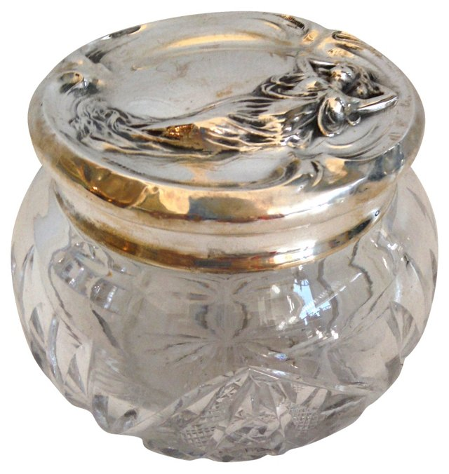 Cut-Glass Container w/ Sterling Lid