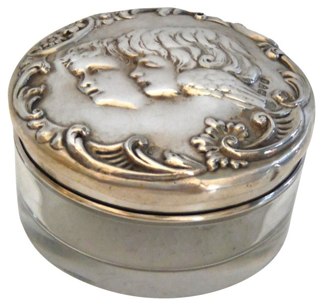 Sterling Siver & Cut-Glass Container
