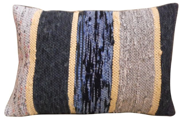 Gray   & Blue Rag   Rug Pillow