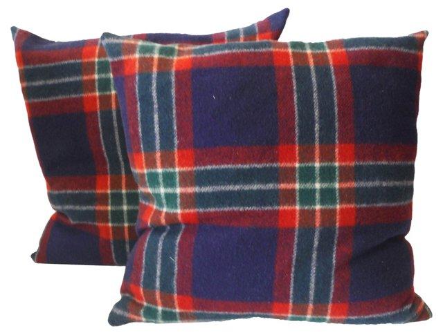 Blue Plaid     Pillows, Pair