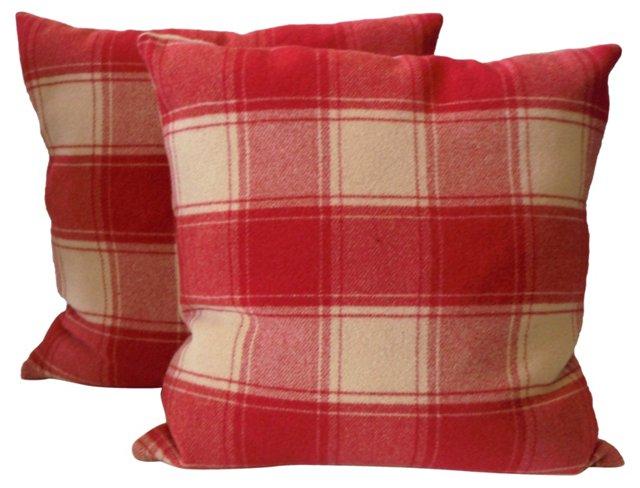 Red Plaid Pillows, Pair