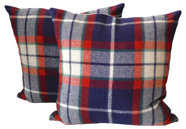 Wool Plaid Blanket    Pillows, Pair