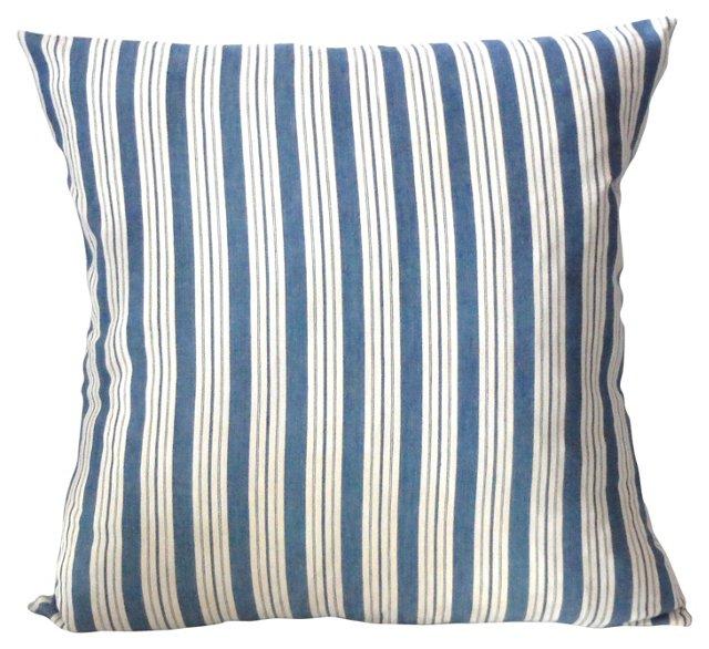 Blue & White  Ticking Pillow