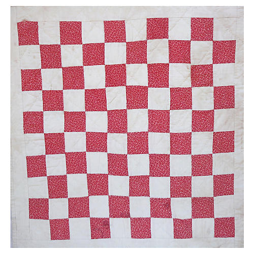 19th-C. Checkerboard Mounted Doll Quilt