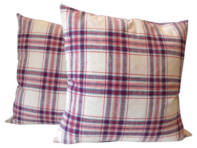 Pillows w/ 19th-C. Plaid Linen, Pair