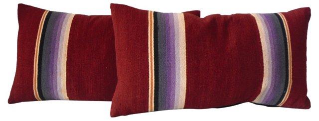 Burgundy Serape Pillows, Pair