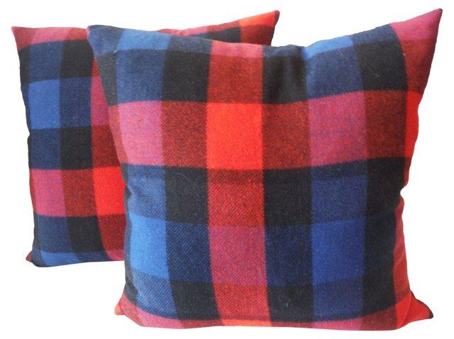 Red & Blue  Plaid  Pillows, Pair