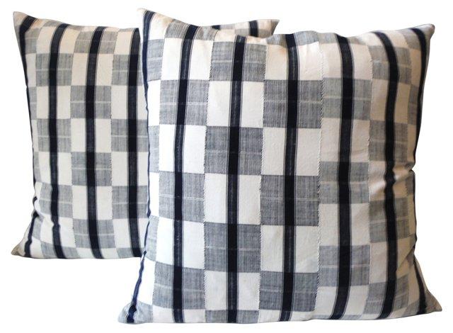 Homespun Ticking  Pillows, Pair