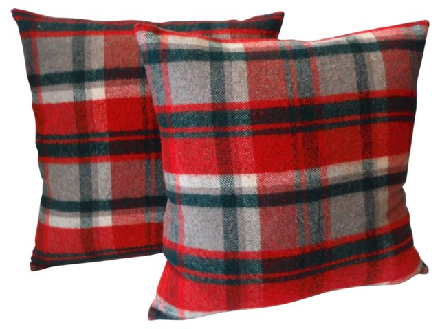 Gray & Red Plaid Pillows, Pair