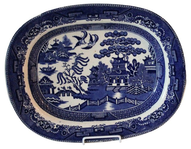 19th-C. Staffordshire Blue Willow Plat.