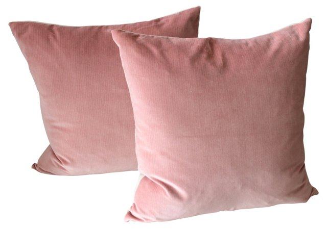 Rose Velvet Pillows, Pair