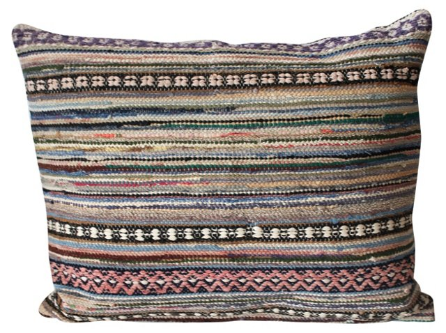 Patterned Rag    Rug Pillow