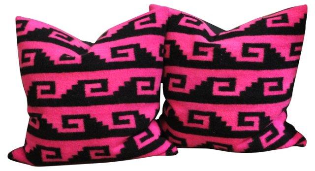 Navajo Pink Weaving Pillows, Pair