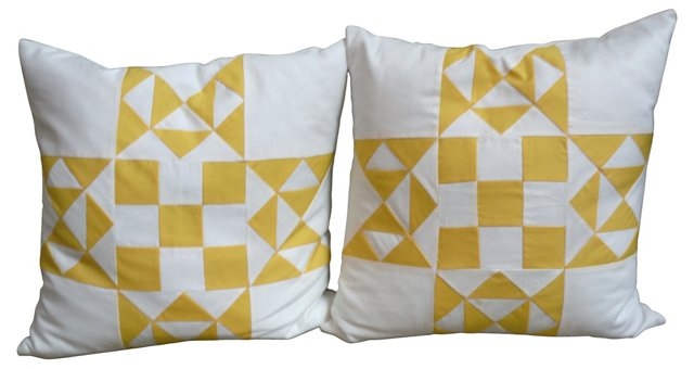 Yellow & White Quilt Pillows, Pair