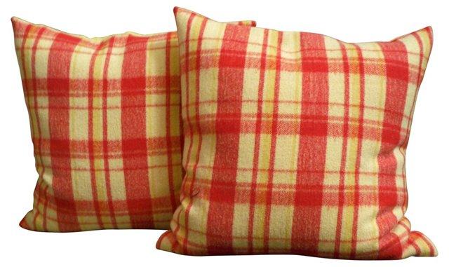 Orange & Yellow Plaid Pillows, Pair