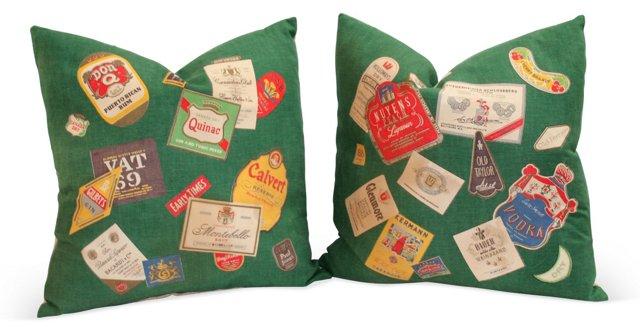 Bar Table Cloth Pillows, Pair