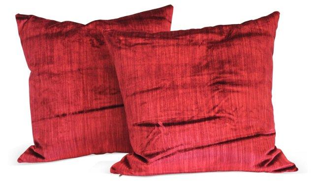 Red Silk Velvet Pillows, Pair