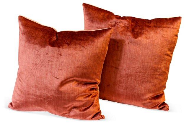 Coral Silk Velvet Pillows, Pair