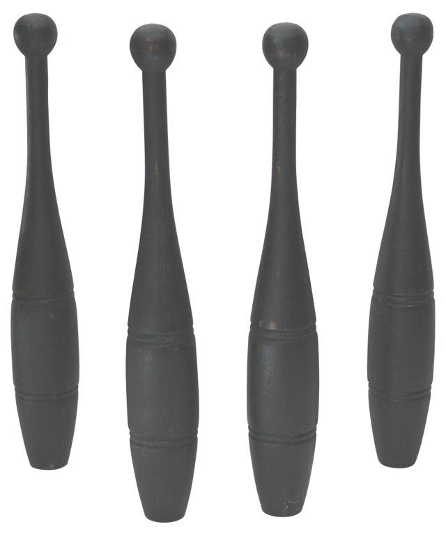 Black Painted  Pins, S/4