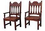Spanish Carved Pine  Chairs, Pair