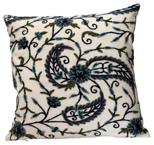 Crewel Linen Pillow