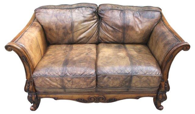 Italian Hand-Carved Wood & Leather Sofa