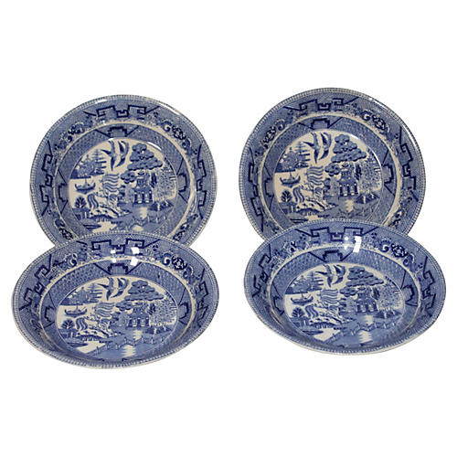 Blue Willow Plates, S/4