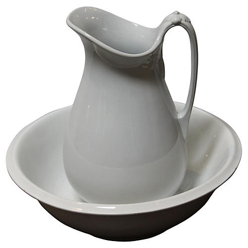 19th-C. Ironstone Bowl & Pitcher