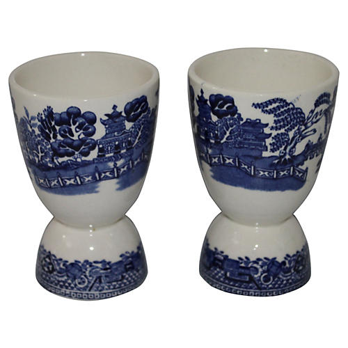 Blue Willow Egg Cups, S/2