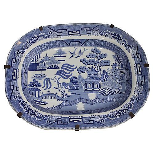 19th-C. Blue Willow Platter on Hanger
