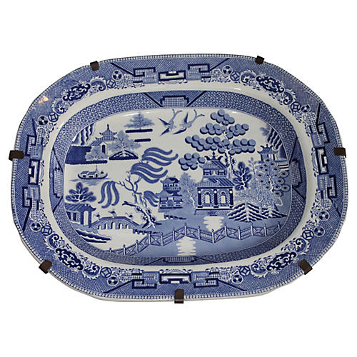 19th-C. Blue Willow Platter on Hanger