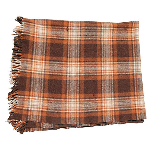 1920s Plaid Brown Blanket
