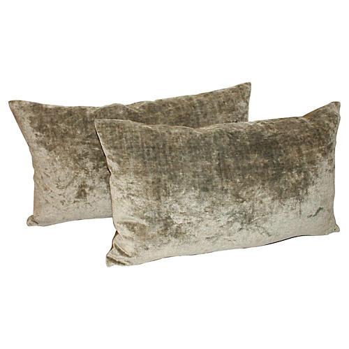 19th-C. Green Velvet Pillows, Pair