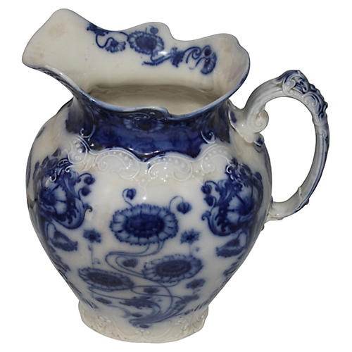 19th-C. Flow Blue Spode Ware Pitcher
