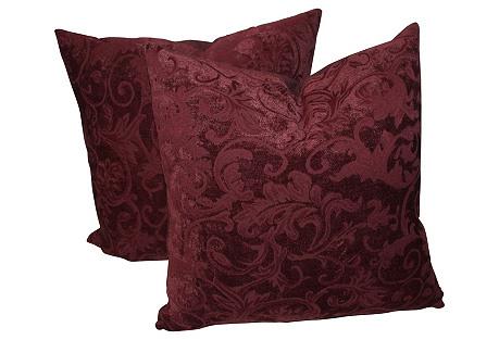 Patterned Burgundy Velvet Pillows, Pair