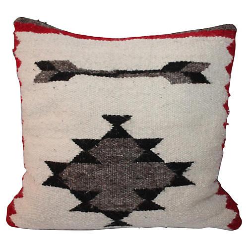 Cat Eye Weaving Pillow w/ Double Feather