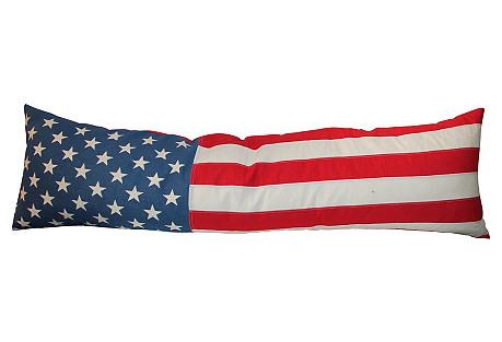 Double Side American Flag Bolster Pillow