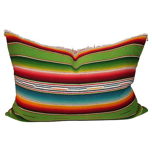 Striped Serape Pillow w/Fringe
