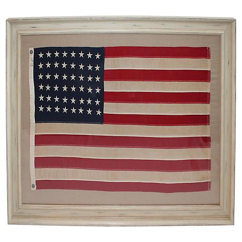 Early-20th-C. 48-Star Framed Flag