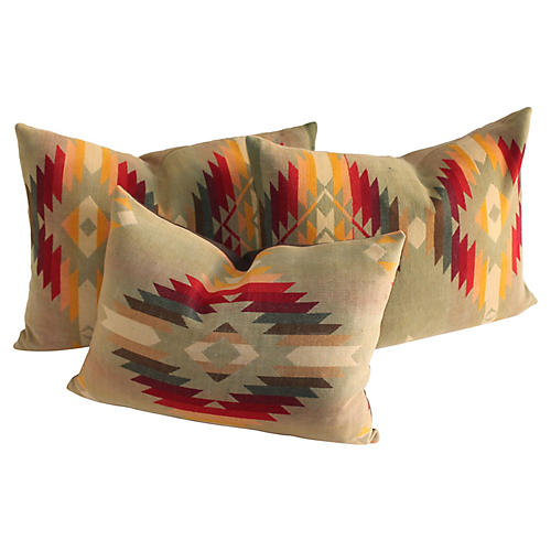 Camp Blanket Pillows, S/3