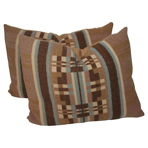 Horse Blanket Pillows, Pair