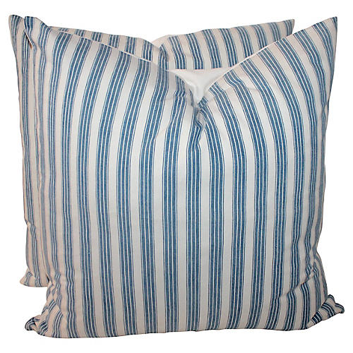 Blue and White Ticking Pillows, Pair