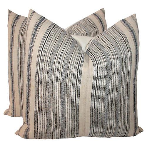 Striped Ticking Pillows, Pair