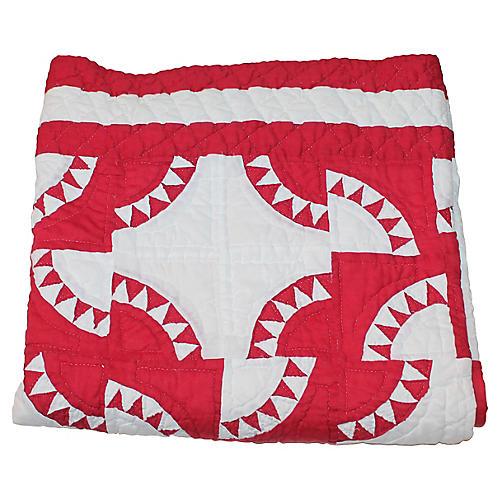 Handmade Red & White Quilt