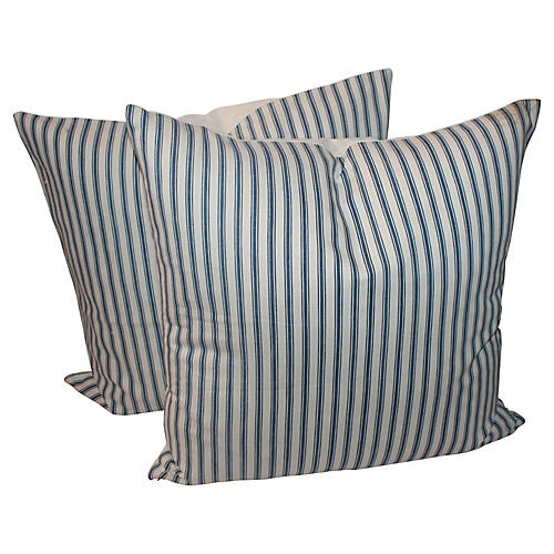 Vertical Striped Picking Pillows, Pair